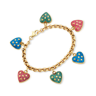 C. 1990 Vintage Multicolored Enamel Heart Charm Bracelet in 14kt Yellow Gold, , default