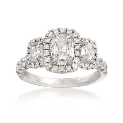 Henri Daussi 1.78 ct. t.w. Three-Stone Diamond Engagement Ring in 18kt White Gold, , default