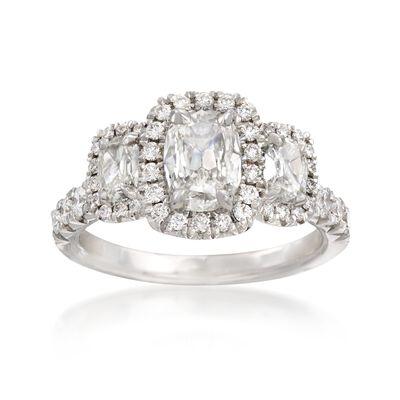 Henri Daussi 1.78 ct. t.w. Three-Stone Diamond Engagement Ring in 18kt White Gold, , default