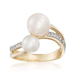 6-9mm Cultured Pearl and .17 ct. t.w. Diamond Bypass Ring in 14kt Yellow Gold, , default