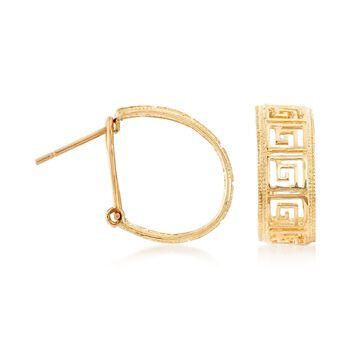 """14kt Yellow Gold Greek Key Hoop Earrings. 3/4""""., , default"""