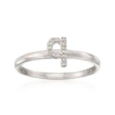 "Diamond Accent Mini Initial ""Q"" Ring in Sterling Silver, , default"