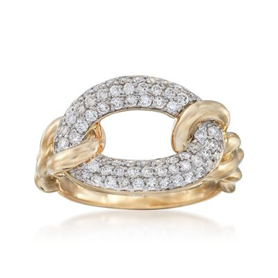.75 ct. t.w. Pave Diamond Link Ring in 14kt Yellow Gold, , default