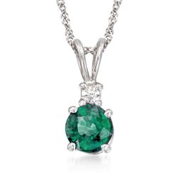 ".50 Carat Emerald Pendant Necklace With Diamond Accent in 14kt White Gold. 16"", , default"