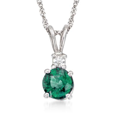 .50 Carat Emerald Pendant Necklace With Diamond Accent in 14kt White Gold, , default