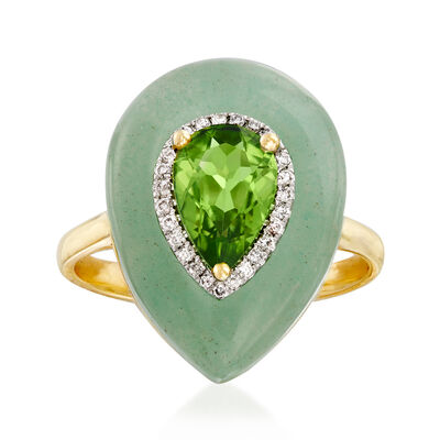 19x14mm Aventurine and 1.20 Carat Peridot Ring with Diamond Accents in 14kt Yellow Gold, , default