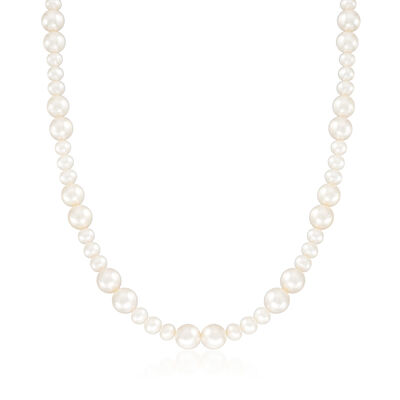C. 1990 Vintage 6.5-9mm Cultured Pearl Necklace with Sterling Silver