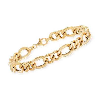Italian 14kt Yellow Gold Alternating-Link Bracelet