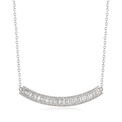 .50 ct. t.w. Baguette and Round Diamond Curved Bar Necklace in 14kt White Gold, , default