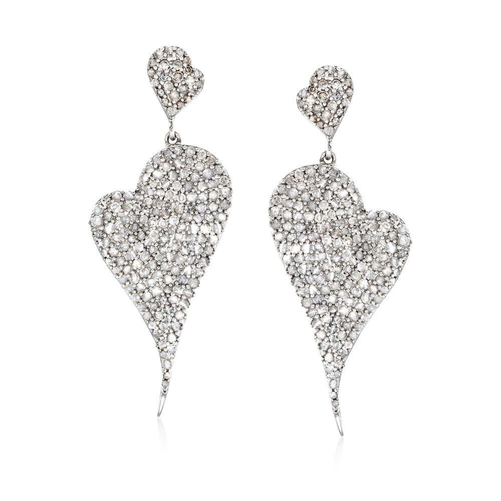 T W Pave Diamond Abstract Heart Drop Earrings In Sterling Silver