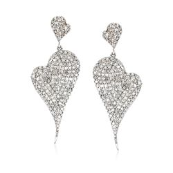 2.00 ct. t.w. Pave Diamond Abstract Heart Drop Earrings in Sterling Silver, , default