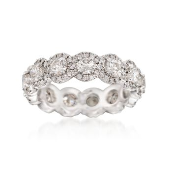 Henri Daussi 2.50 ct. t.w. Diamond Eternity Band in 18kt White Gold. Size 6, , default