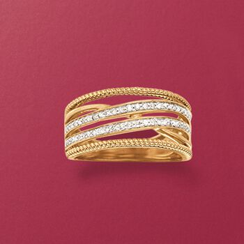 .26 ct. t.w. Diamond Highway Ring in 14kt Gold Over Sterling, , default