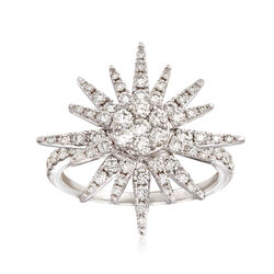 1.00 ct. t.w. Diamond Starburst Ring in 14kt White Gold, , default