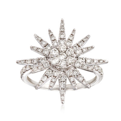 1.00 ct. t.w. Diamond Starburst Ring in 14kt White Gold, , default