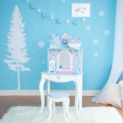 """Child's """"Dreamland"""" Castle Play Vanity Set in White and Ice Blue"""