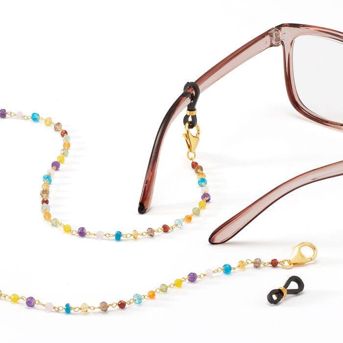 3-In-1 Mixed Gemstone Necklace, Mask Holder and Eyeglass Chain in 18kt Gold Over Sterling