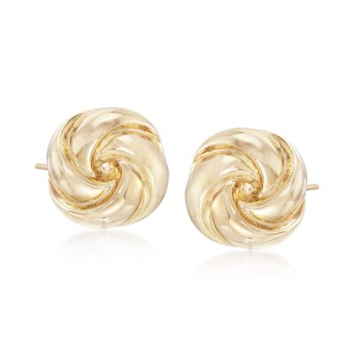 14kt Yellow Gold Polished Knot Earrings, , default