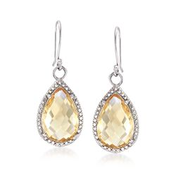 10.00 ct. t.w. Citrine Drop Earrings With Diamond Accents in Sterling Silver, , default
