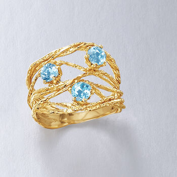 .90 ct. t.w. Blue Topaz Open-Space Ring in 14kt Yellow Gold, , default