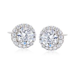 3.60 ct. t.w. CZ Halo Stud Earrings in Sterling Silver , , default
