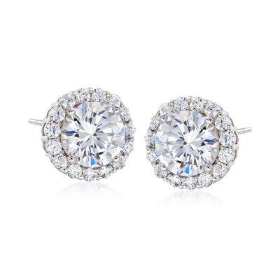 3.60 ct. t.w. CZ Halo Stud Earrings in Sterling Silver, , default