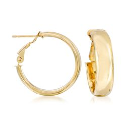 "Italian 14kt Yellow Gold Hoop Earrings. 3/4"", , default"