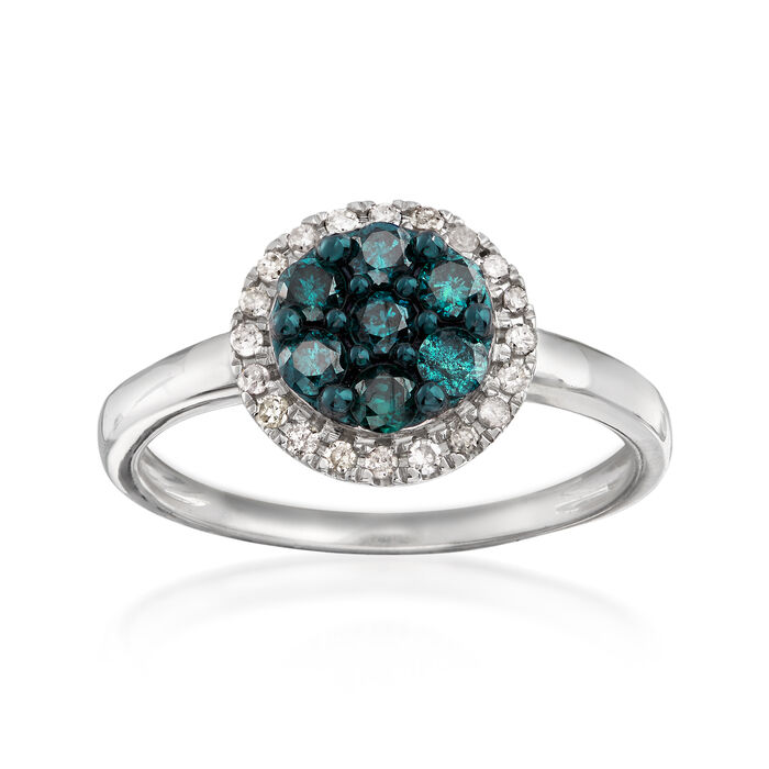 .50 ct. t.w. Blue and White Diamond Ring in 14kt White Gold, , default