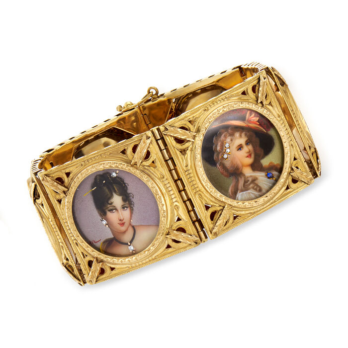 """C. 1940 Vintage .10 ct. t.w. Diamond Hand-Painted Portrait Bracelet with Multi-Gemstone Accents in 18kt Yellow Gold. 6.75"""""""