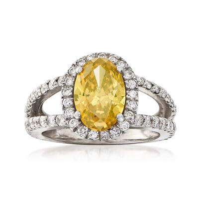 C. 2000 Vintage 3.48 ct. t.w. Certified White and Yellow Diamond Halo Ring in 18kt White Gold, , default