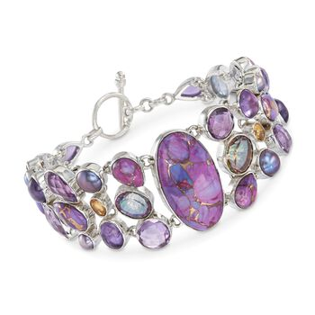"""Purple Turquoise and 39.50 ct. t.w. Multi-Stone Mosaic Bracelet in Sterling Silver. 7.5"""", , default"""