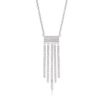 .70 ct. t.w. CZ Fringe Necklace in Sterling Silver, , default