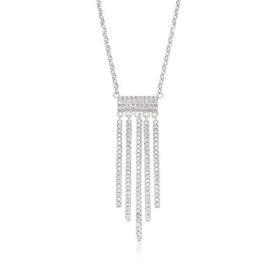 .70 ct. t.w. CZ Fringe Necklace in Sterling Silver, , default