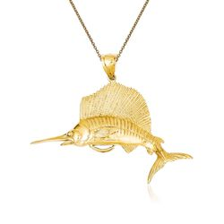 "14kt Yellow Gold Sailfish Pendant Necklace. 18"", , default"