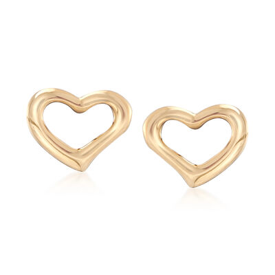 18kt Yellow Gold Open-Space Heart Stud Earrings, , default