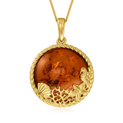 Amber Sea Life Pendant Necklace in 18kt Gold Over Sterling