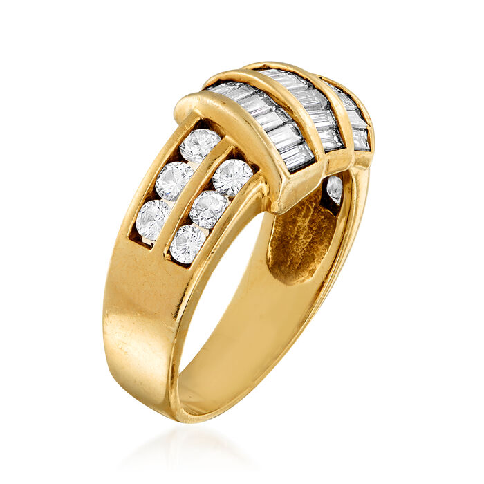 C. 1980 Vintage 2.00 ct. t.w. Round and Baguette Diamond Ring in 14kt Yellow Gold