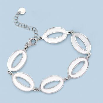 Italian White Enamel Oval-Link Bracelet in Sterling Silver, , default