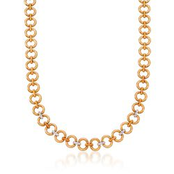 "C. 1980 Vintage .40 ct. t.w. Diamond Necklace in 18kt Two-Tone Gold. 16.25"", , default"