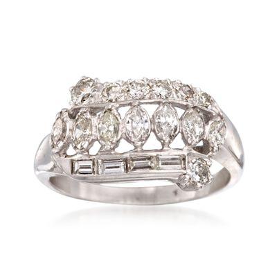 C. 2000 Vintage .85 ct. t.w. Multi-Cut Diamond Ring in 14kt White Gold, , default