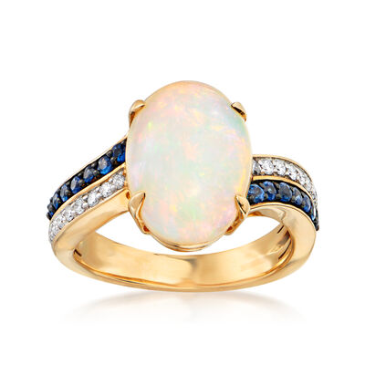 Opal, .20 ct. t.w. Sapphire and .16 ct. t.w. Diamond Ring in 18kt Yellow Gold