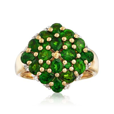 2.60 ct. t.w. Chrome Diopside and .14 ct. t.w. Diamond Ring in 18kt Gold Over Sterling, , default