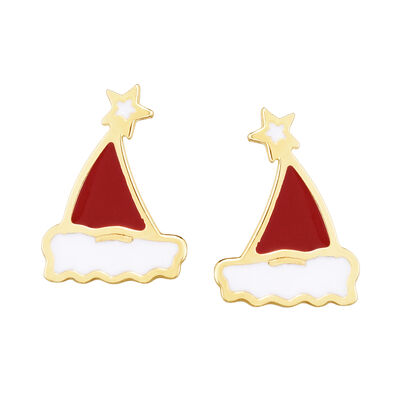 Red and White Enamel Santa Hat Earrings in 14kt Yellow Gold