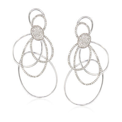 1.15 ct. t.w. Diamond Multi-Oval Drop Earrings in 14kt White Gold, , default