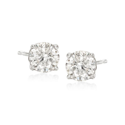 1.00 ct. t.w. CZ Stud Earrings in 14kt White Gold
