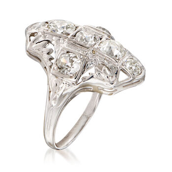 C. 1950 Vintage 1.60 ct. t.w. Diamond Filigree Cocktail Ring in 18kt White Gold. Size 6.25