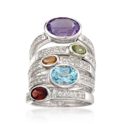 4.75 ct. t.w. Multi-Stone Jewlery Set: Five Rings in Sterling Silver, , default