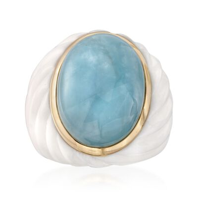 Milky Aquamarine and White Agate Ring with 14kt Yellow Gold, , default
