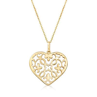 Italian 14kt Yellow Gold Openwork Heart Pendant Necklace