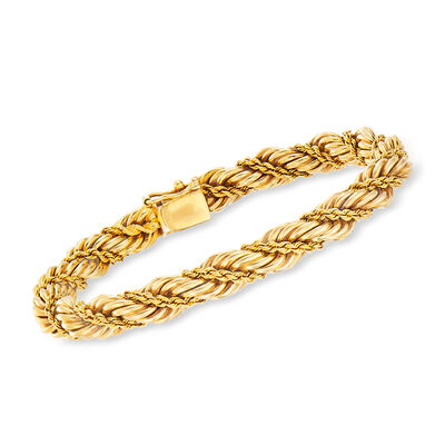C. 1980 Vintage Tiffany Jewelry Roped Bracelet in 14kt Yellow Gold, , default